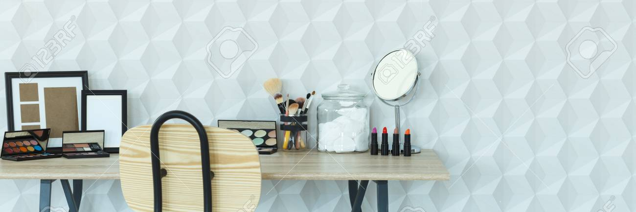 Home interior with makeup table, chair and 3d wallpaper, panorama