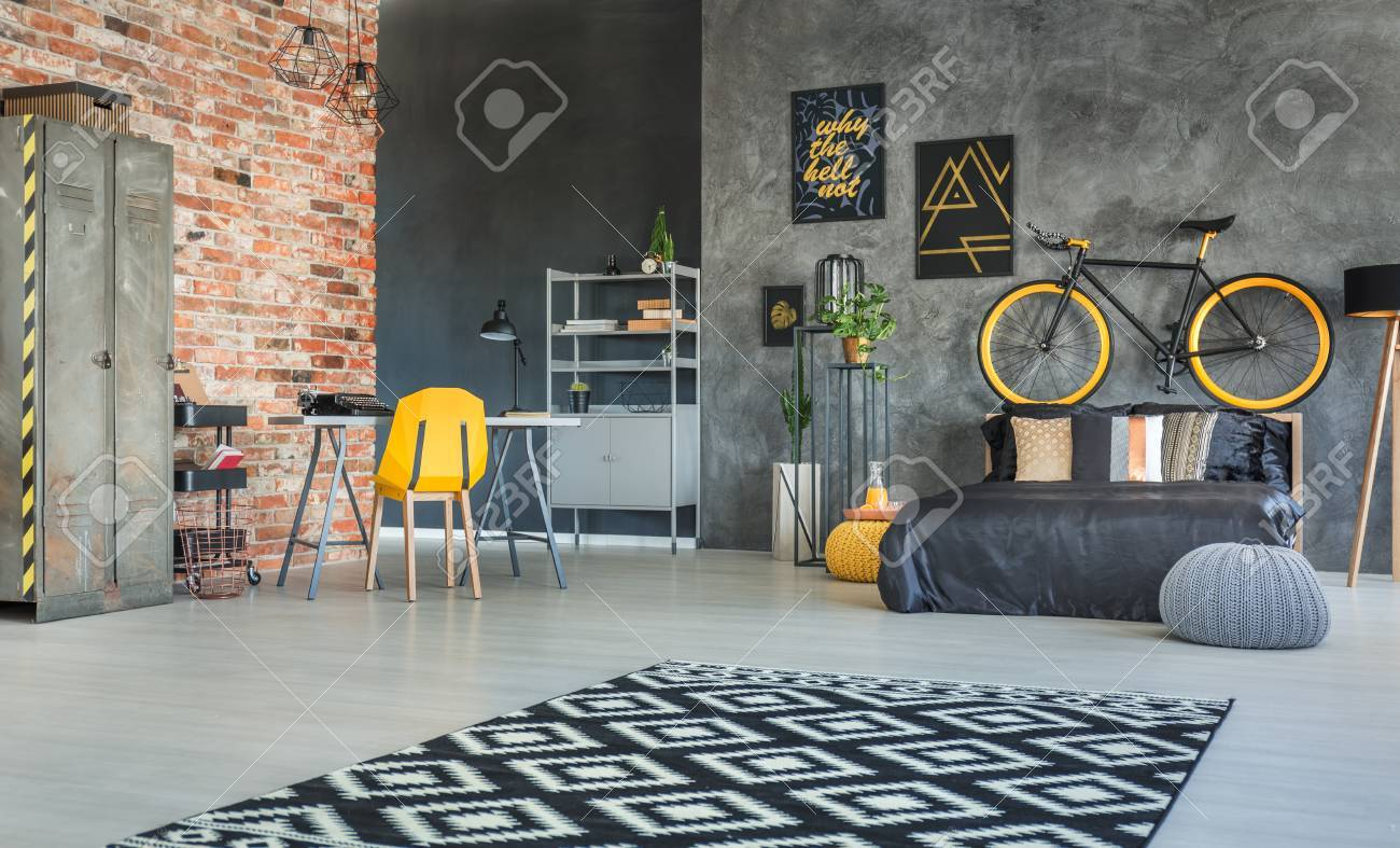 Brick Wall And Hipster Furniture In Bedroom Interior Stock Photo ...