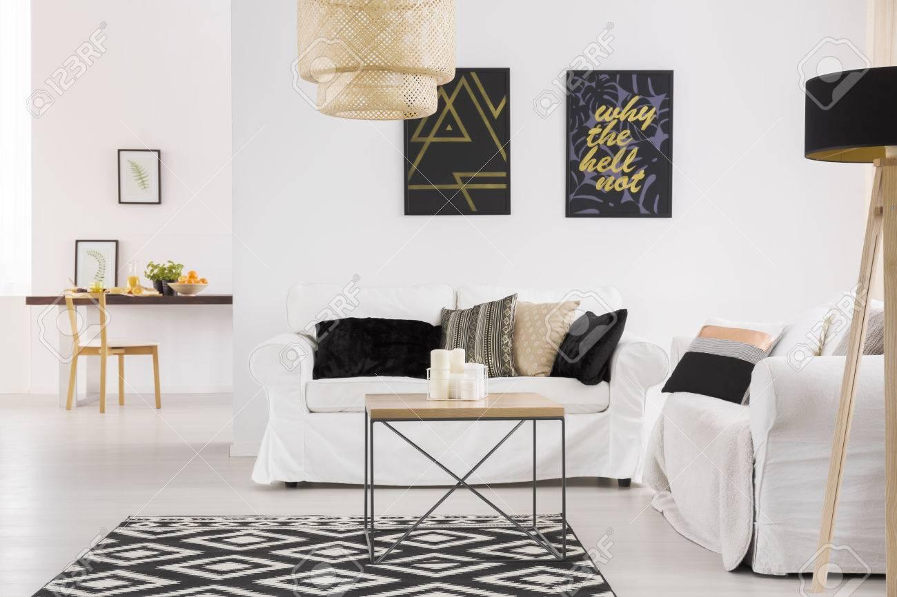 Comfortable White Sofa In Spacious Living Room In Scandinavian ...