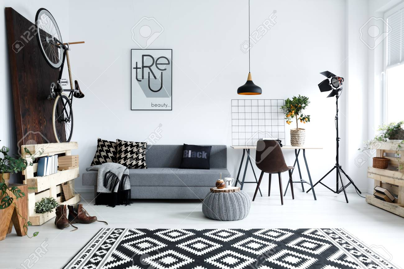 Hipster Style, White Living Room With Sofa, Pouf, Carpet, Bike Stock ...