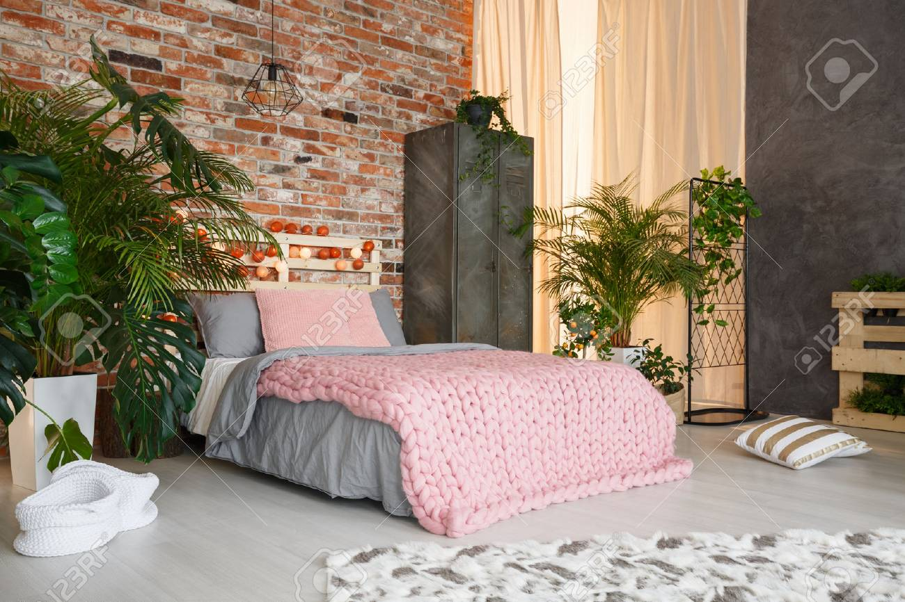 Modern Botanic Bedroom Design With Plants Bed And Locker Stock Photo Picture And Royalty Free Image Image 77513003