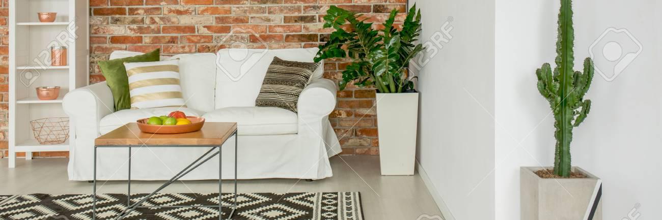 Standard Bild   Weißes Sofa Im Modernen Wohnzimmer Mit Pflanzen Und Mauer