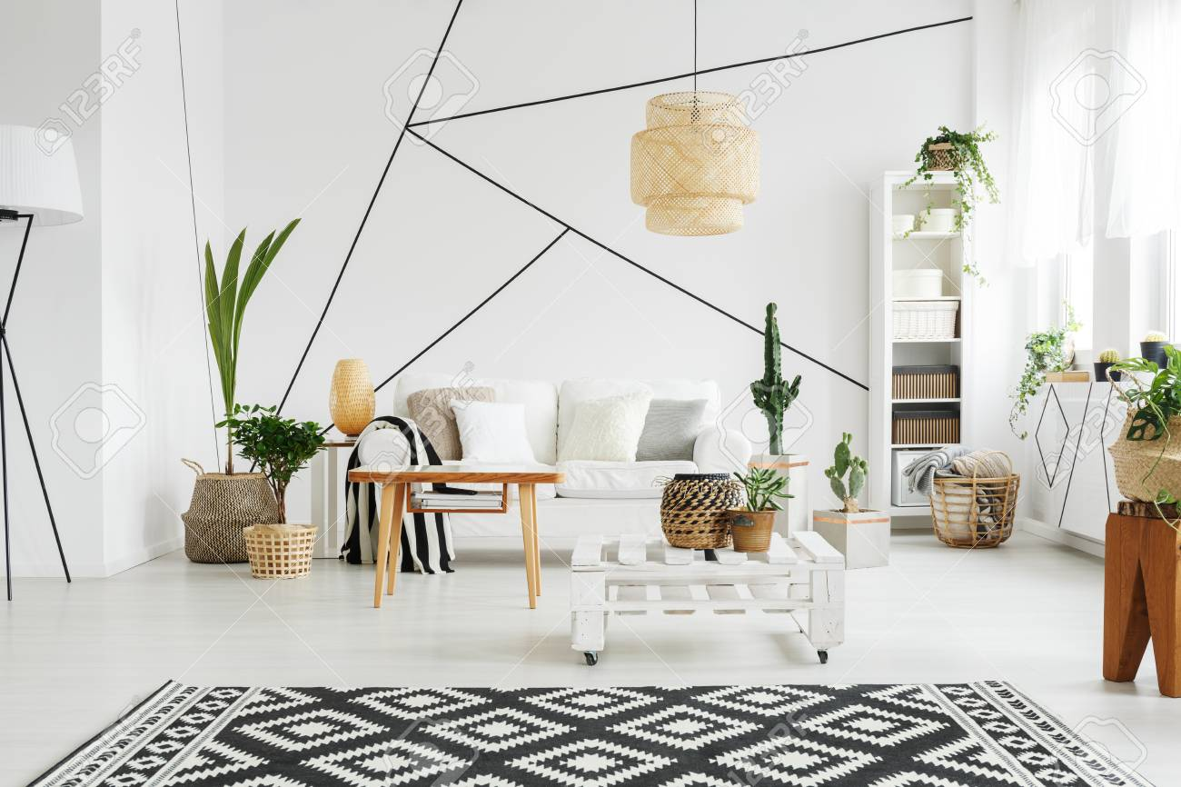 contemporary design of cozy simple lounge with plants