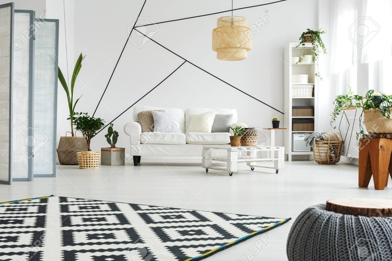 Stock Photo   White Modern Furniture In Scandi Style Living Room