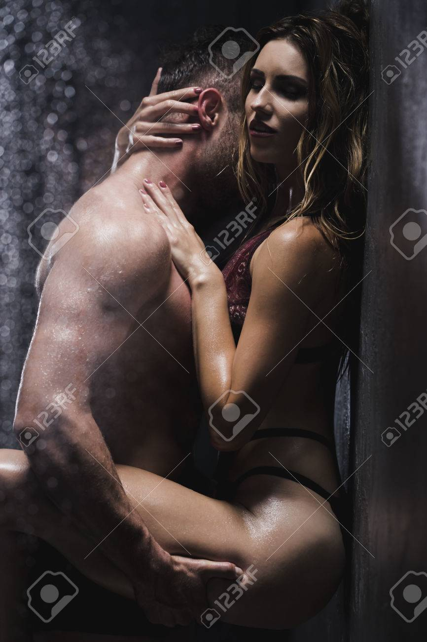 Man Passionately Kissing The Woman S Neck In The Common Shower Stock Photo Picture And Royalty Free Image Image 78504491