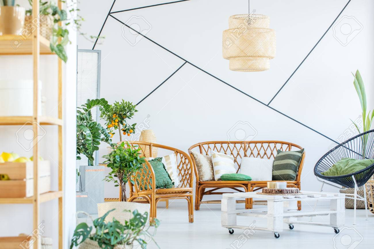 Living Room With Rattan Sofa Table And Chair Stock Photo Picture And Royalty Free Image Image 78812617