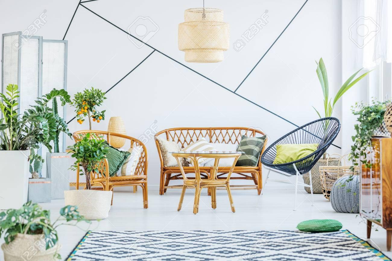 Salon Blanc Avec Une Chaise Ronde Un Canap En Rotin Et Table
