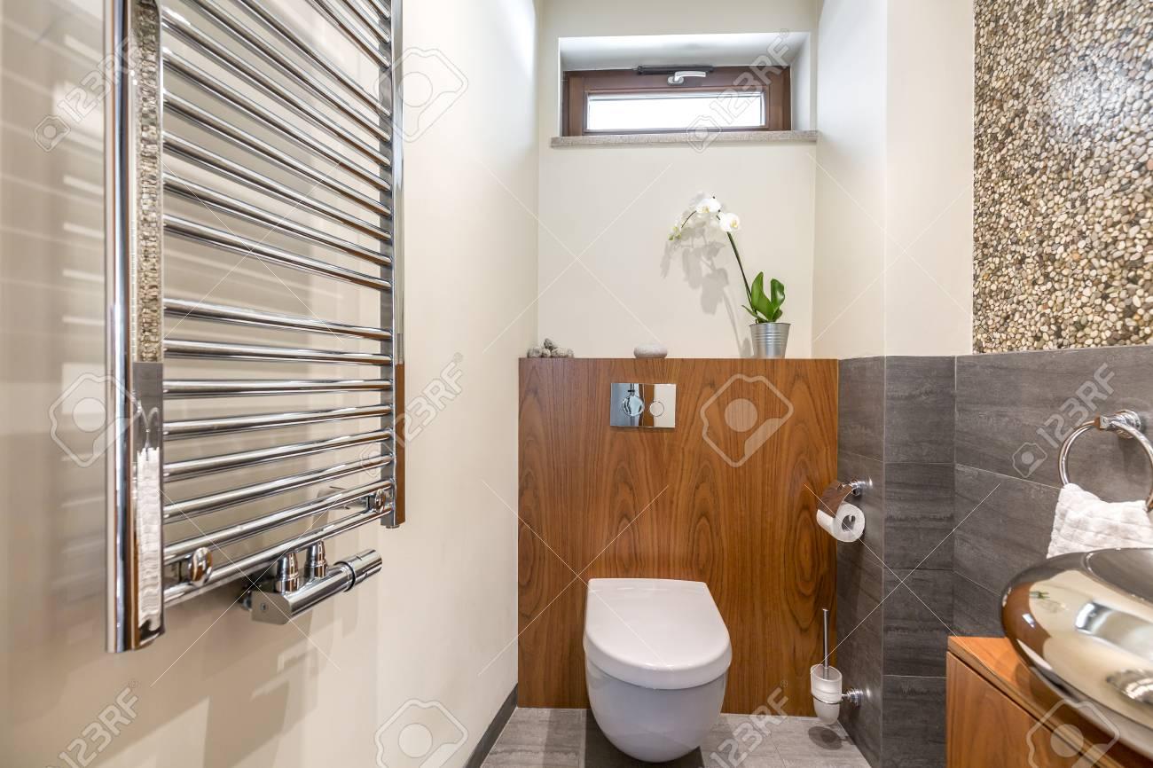 Radiator Voor Toilet : Functional stylish bathroom with toilet and radiator stock photo