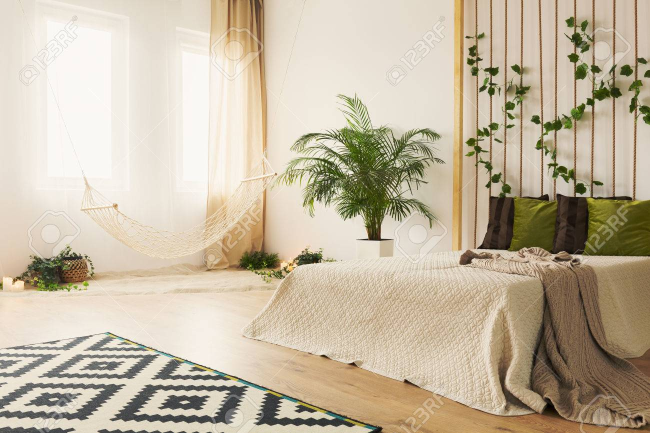 Sand Bedroom With Double Bed Hammock Plants And Rope Wall Stock Photo Picture And Royalty Free Image Image 78964106