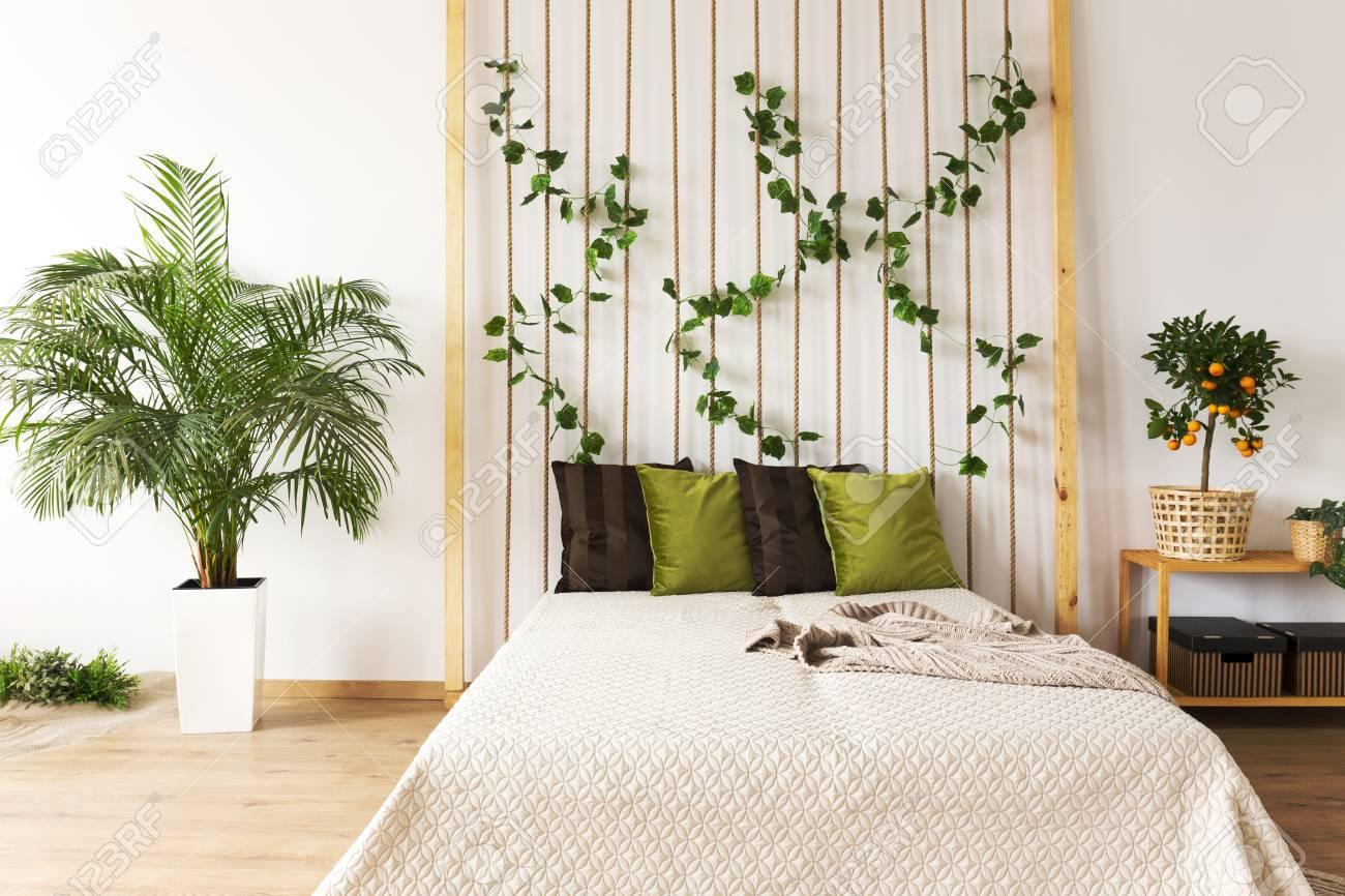 Plante Sur Les Murs chambre à la mode avec mur de corde, lit double et plante