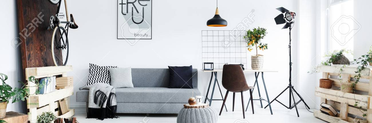 Panorama Of Minimalist Apartment For Man With Hipster Furniture Stock Photo    79198113