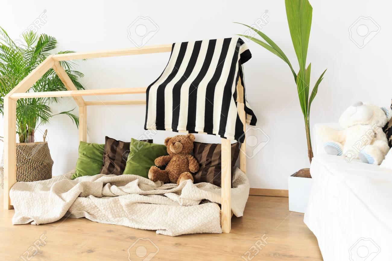 Botanical Eco Friendly Decor In Natural Minimalist Kids Room Stock Photo    79257517