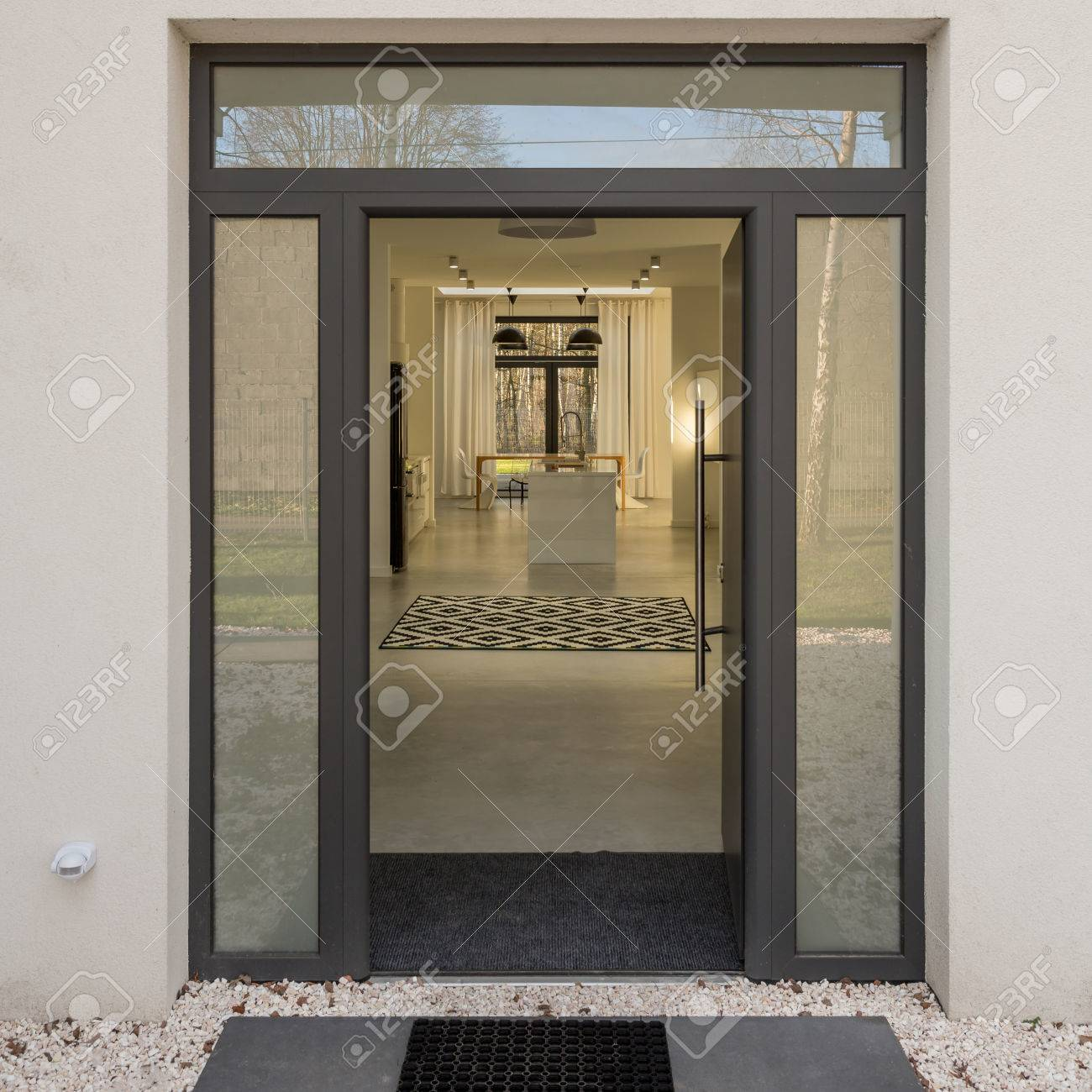 Simple And Modern Glass Door Entrance To Elegant House Stock Photo Picture And Royalty Free Image Image 79459215