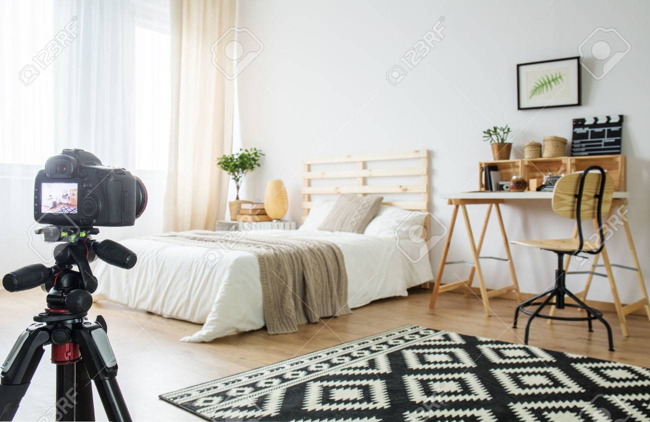 Camera On A Tripod In Modern Bedroom Interior Stock Photo Picture And Royalty Free Image Image 79523447