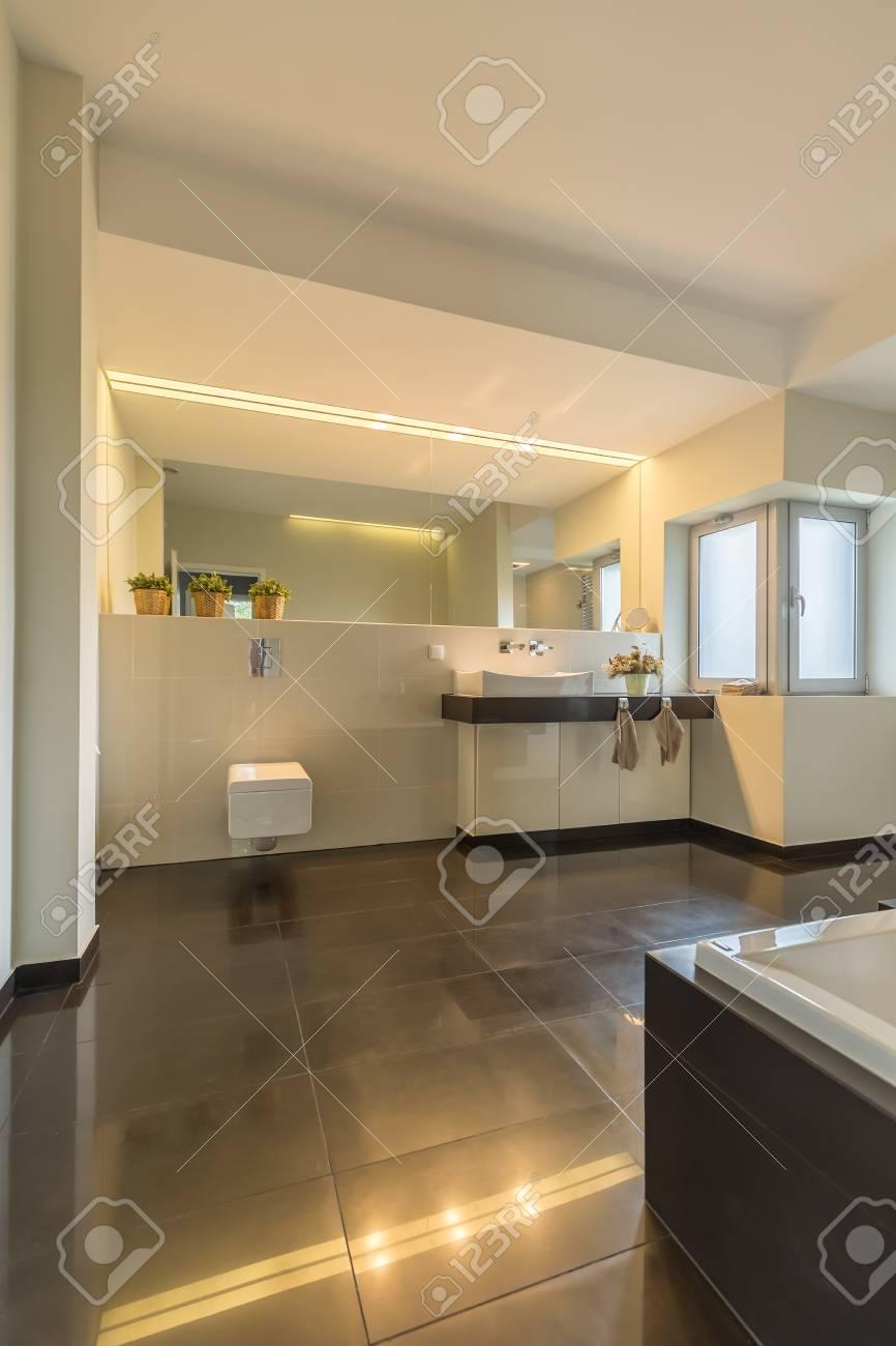 Geraumiges Badezimmer Interieur Mit Fliesen Auf Dem Boden Fenster