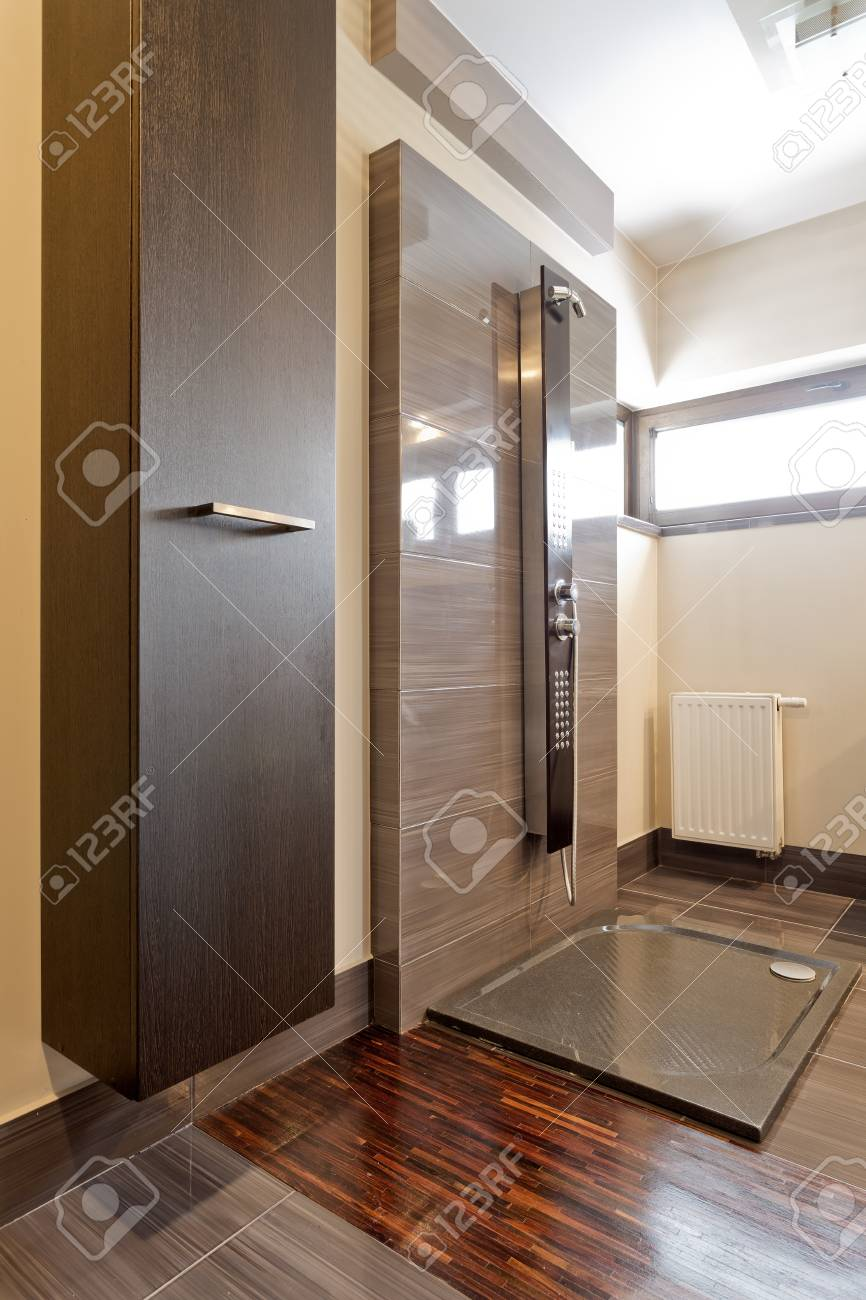 Modern Open Shower With Marble Brown Tiles In A Big New Bathroom Stock Photo Picture And Royalty Free Image Image 79865515