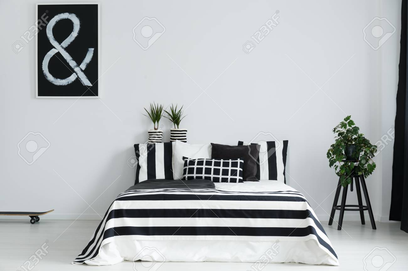 Modern Minimalist Black And White Bedroom With Plants And Skateboard Stock Photo Picture And Royalty Free Image Image 80161575
