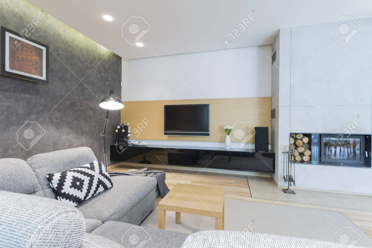 Spacious comfortable living room with Tv set, fireplace and couch