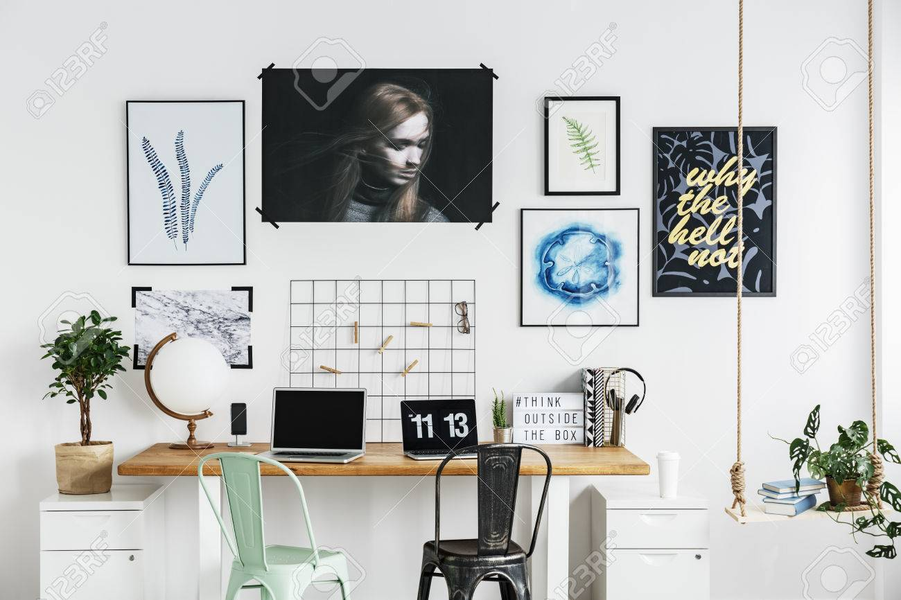 Posters On A White Wall In Modern Home Office Stock Photo Picture