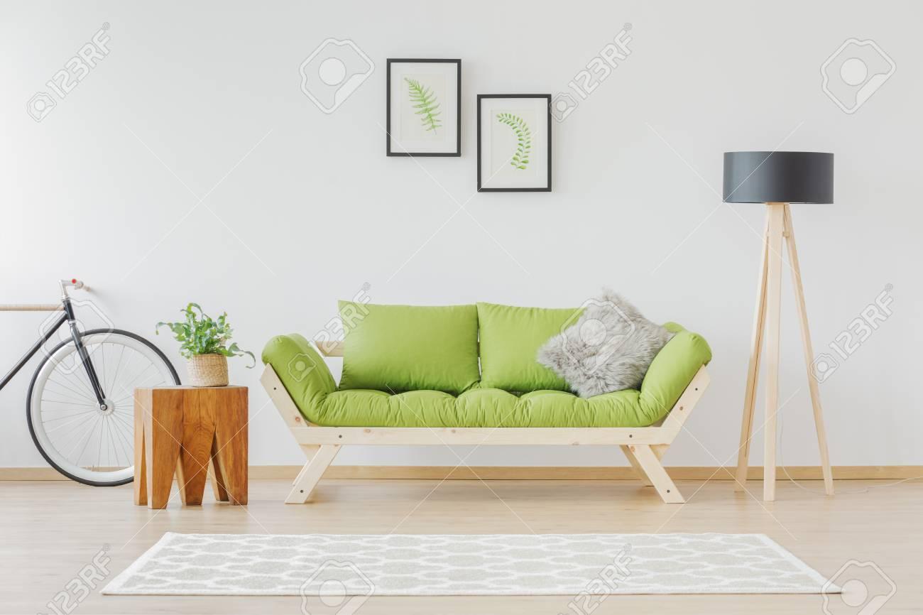 Bemerkenswert Sofa Scandi Galerie Von Green Wooden In Loft Space Stock Photo