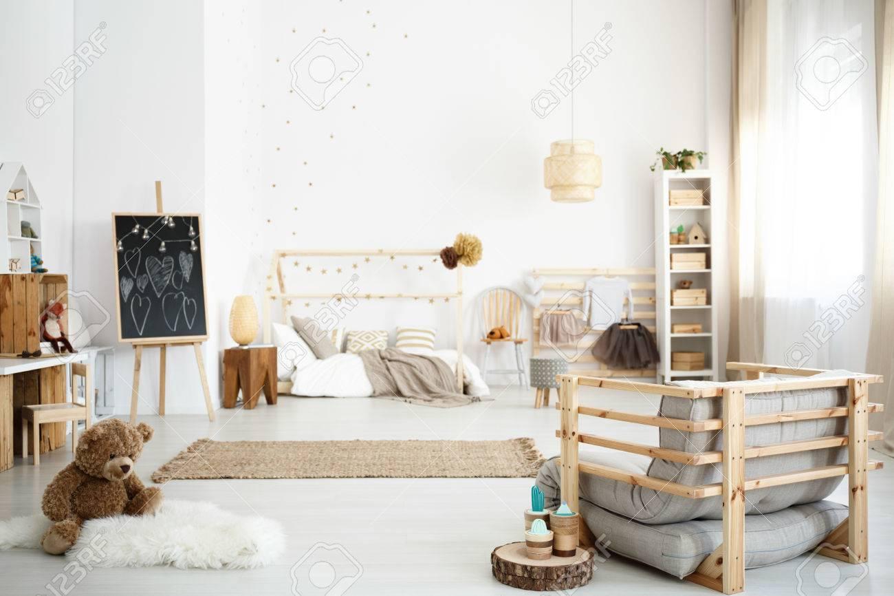 Inspiring scandinavian white girl\'s bedroom in modern style