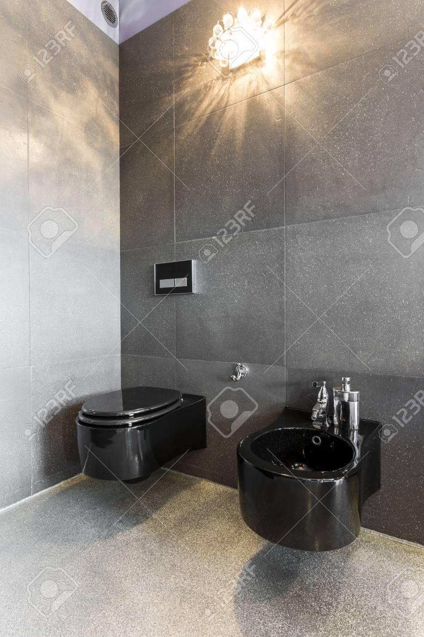Intérieur de la salle de bains spacieuse avec toilettes et bidet noirs,  murs et sol noirs