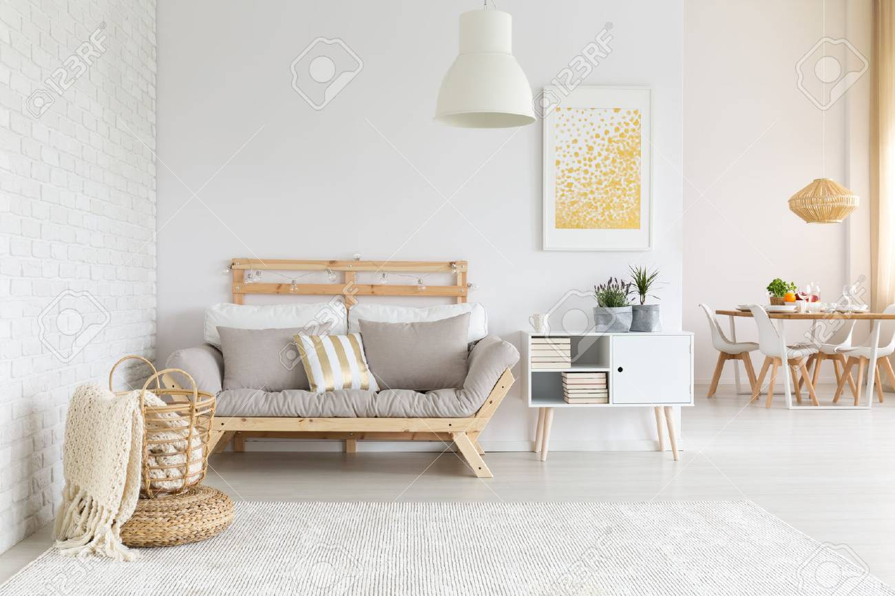 White Beige And Gold Furniture And Decorations In Living Room
