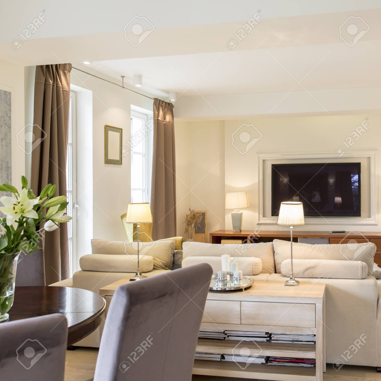 Modern Living Room With Stylish Furniture And Tv Set Open To Stock Photo Picture And Royalty Free Image Image 81575794