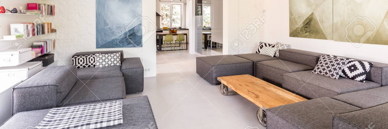 Modern Living Room With Two Sofas Coffee Table And Bookshelves Stock Photo