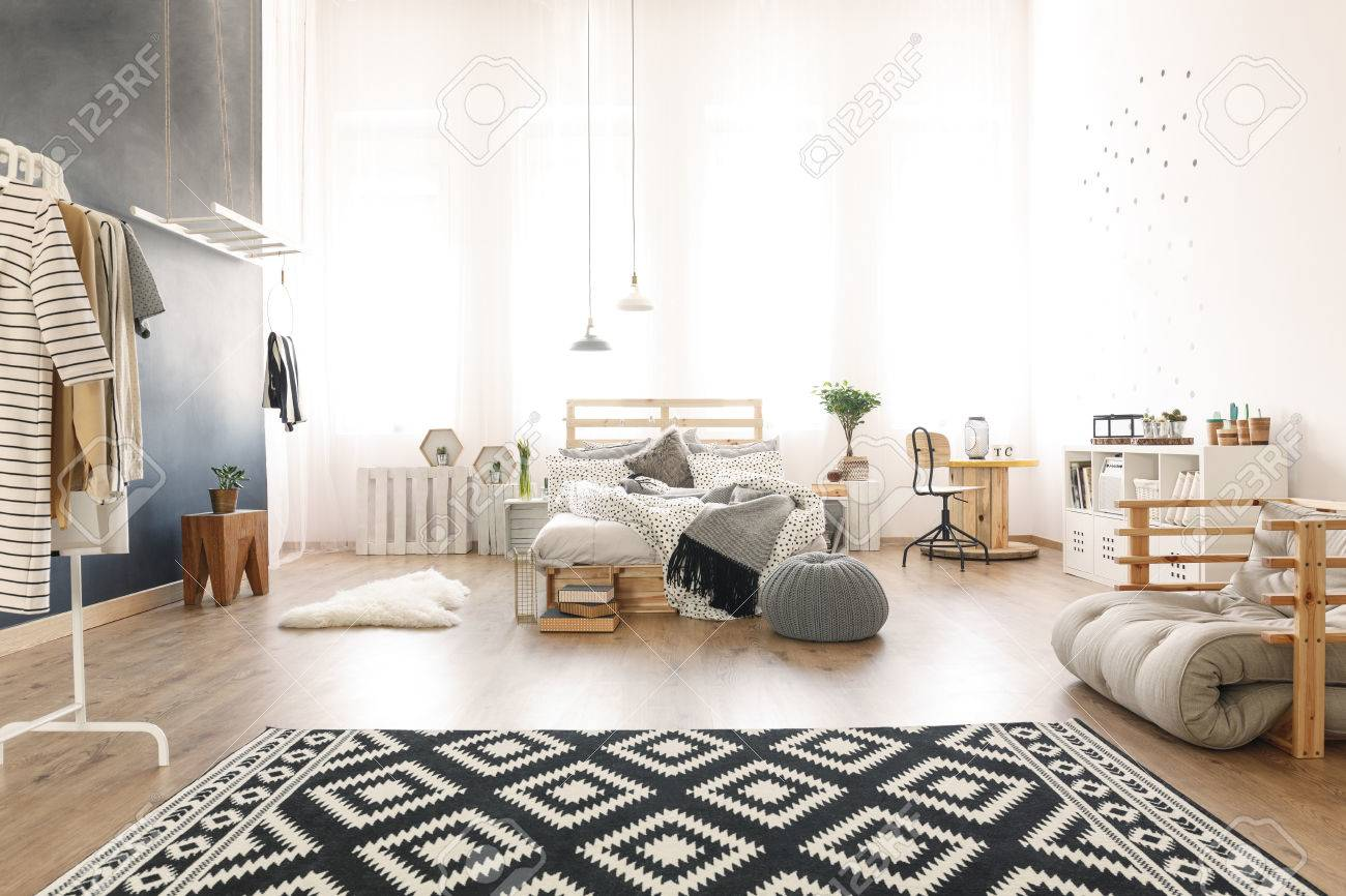 Black And White Apartment With Diy Pallet Bed Pattern Carpet Stock Photo Picture And Royalty Free Image Image 81726208