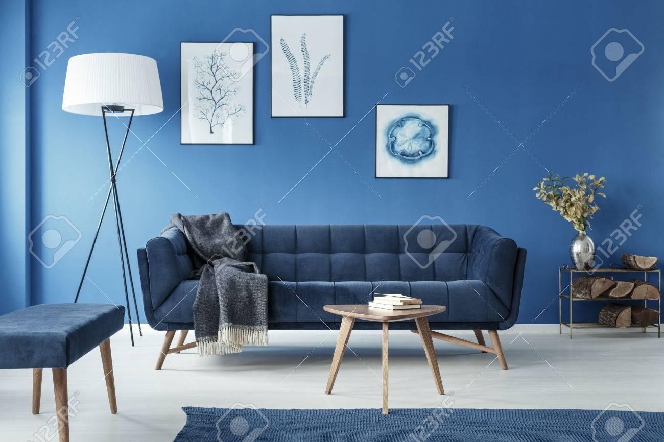 Cyan fancy classic retro living room with sofa