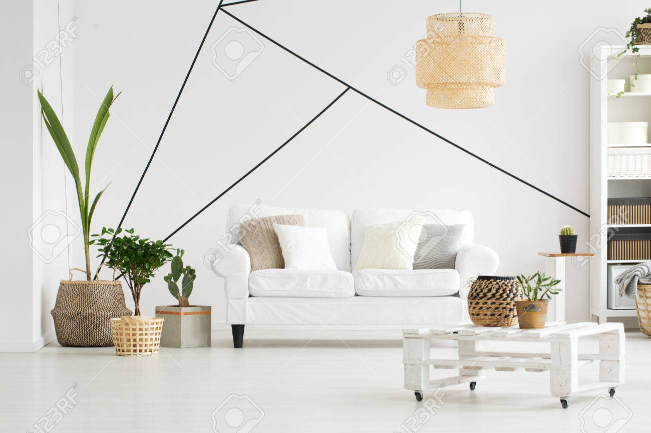 Cozy Living Room With Furniture In Scandinavian Style Stock Photo ...
