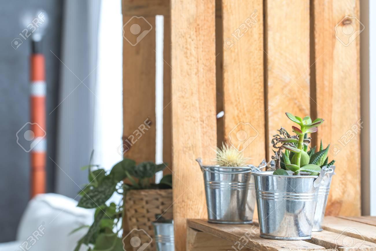 Plantes En Pots De Fleurs En Metal Sur Etagere De Palette Elegant