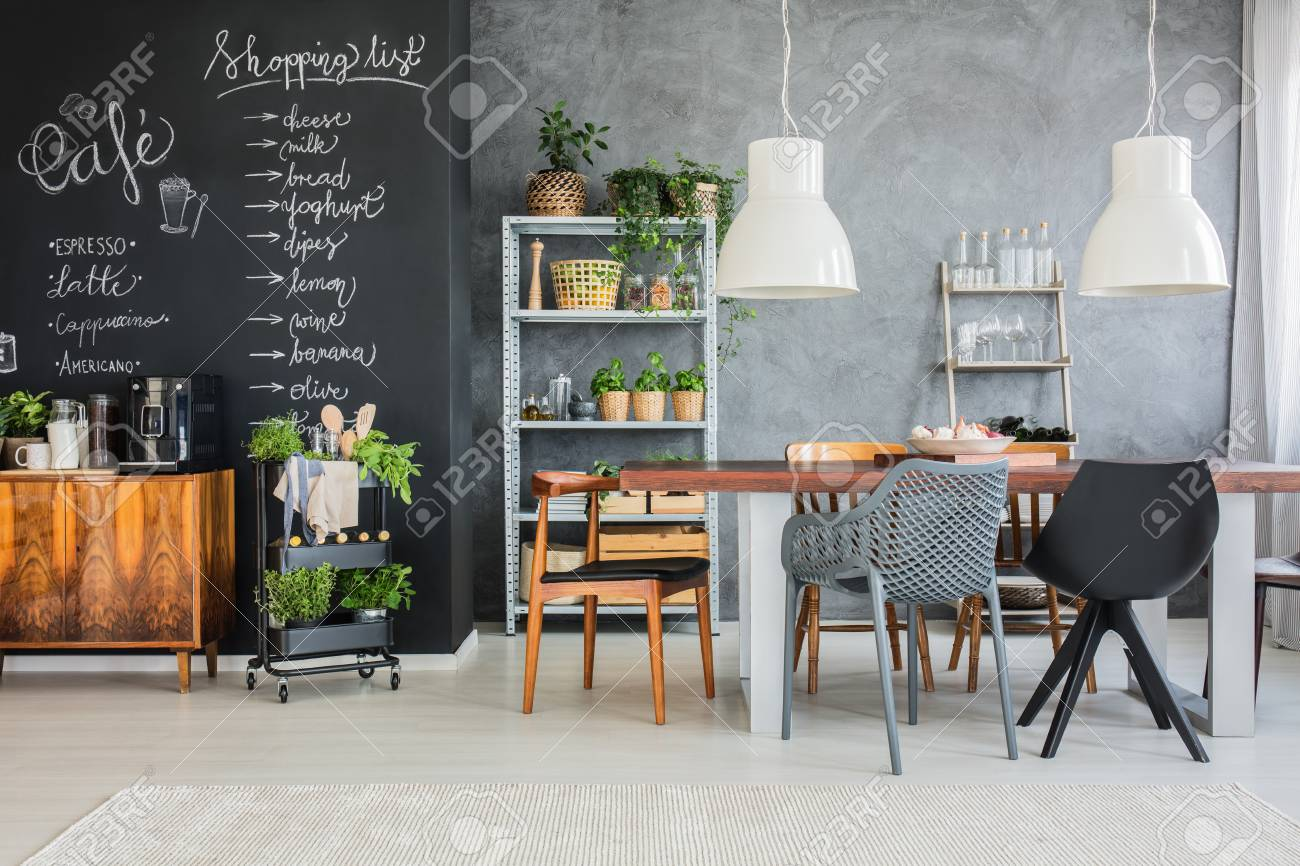 Family table in industrial kitchen in loft space