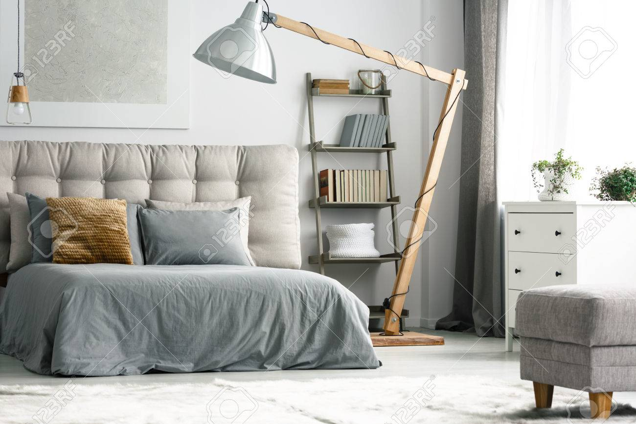 Wooden Decor In Cozy Grey Bedroom With Shelf Made Of Ladder Stock Photo Picture And Royalty Free Image Image 82552687