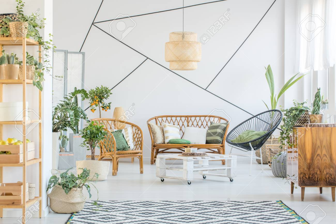 Decorative Tape On A Wall In White Living Room With Rattan ...
