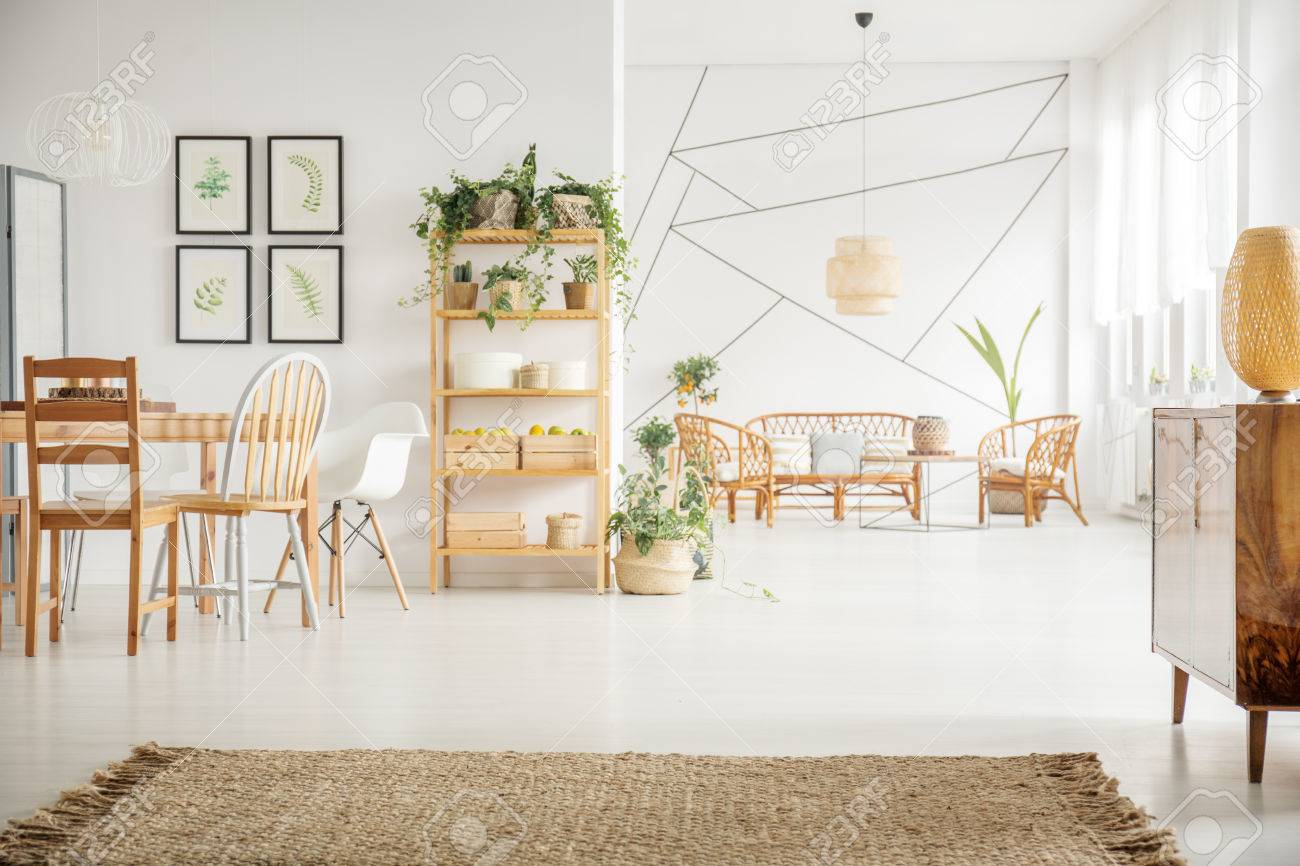 White living room with plants and wooden furniture