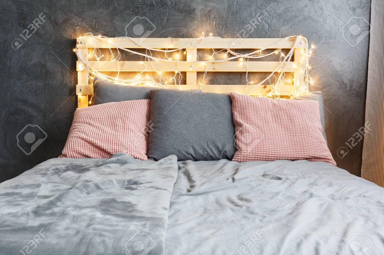 Cozy Dreamy Bed With Decorated Diy Pallet Headboard Stock Photo Picture And Royalty Free Image Image 82180261