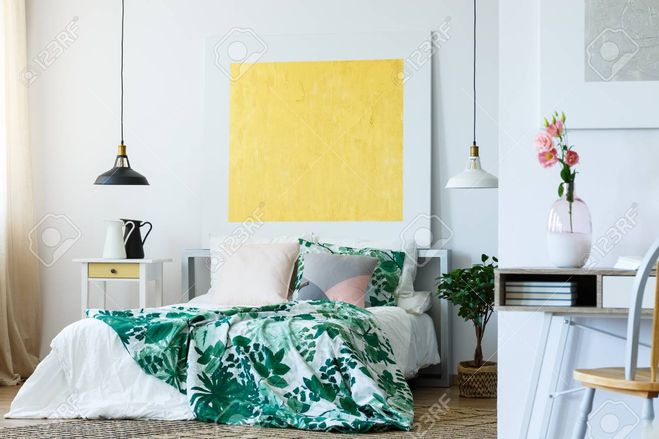 Art Gallery In Stylish And Modern Bedroom Stock Photo Picture And Royalty Free Image Image 82253766