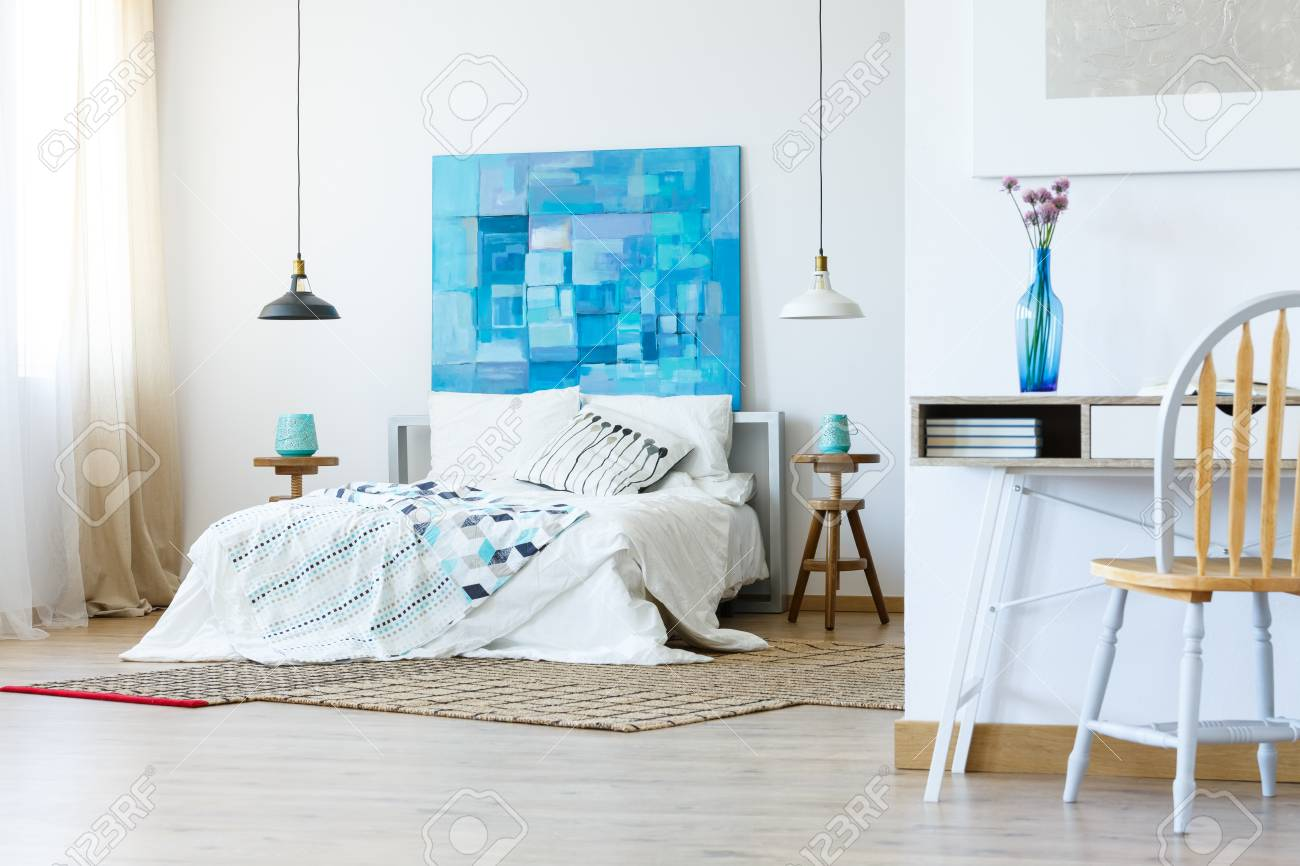 Bedroom In Simple Modern Style With Contemporary Artworks