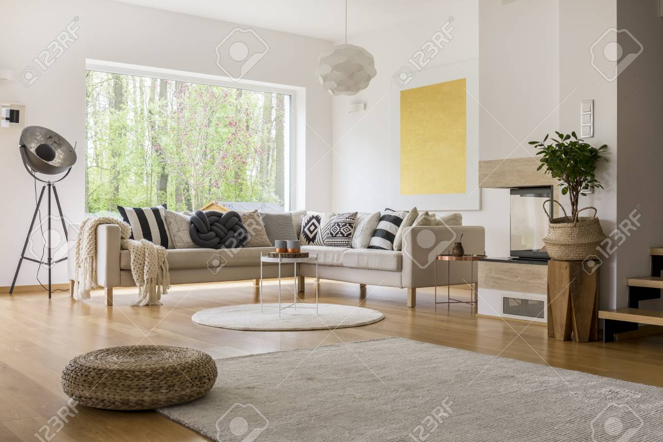 Big Window With A View In Cozy Modern Living Room Stock Photo ...