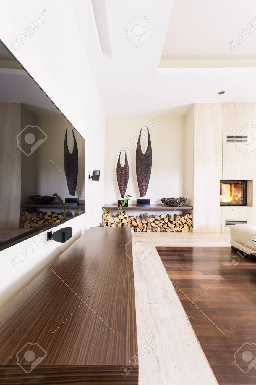Modern Living Room With Fireplace And Huge Tv Screen Stock Photo Picture And Royalty Free Image Image 82490474