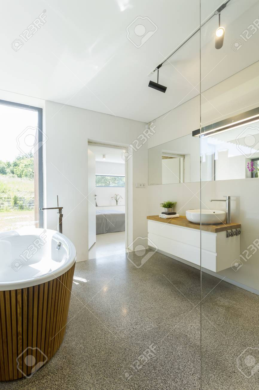 Bright Simple Bathroom Design, With Granite Floor, Large Window ...