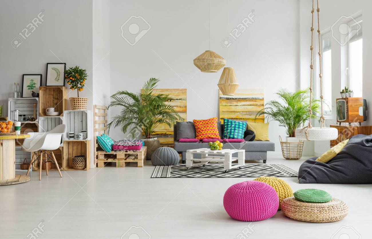 View Of Retro Colorful Cozy Living Room In Trendy Loft Stock Photo