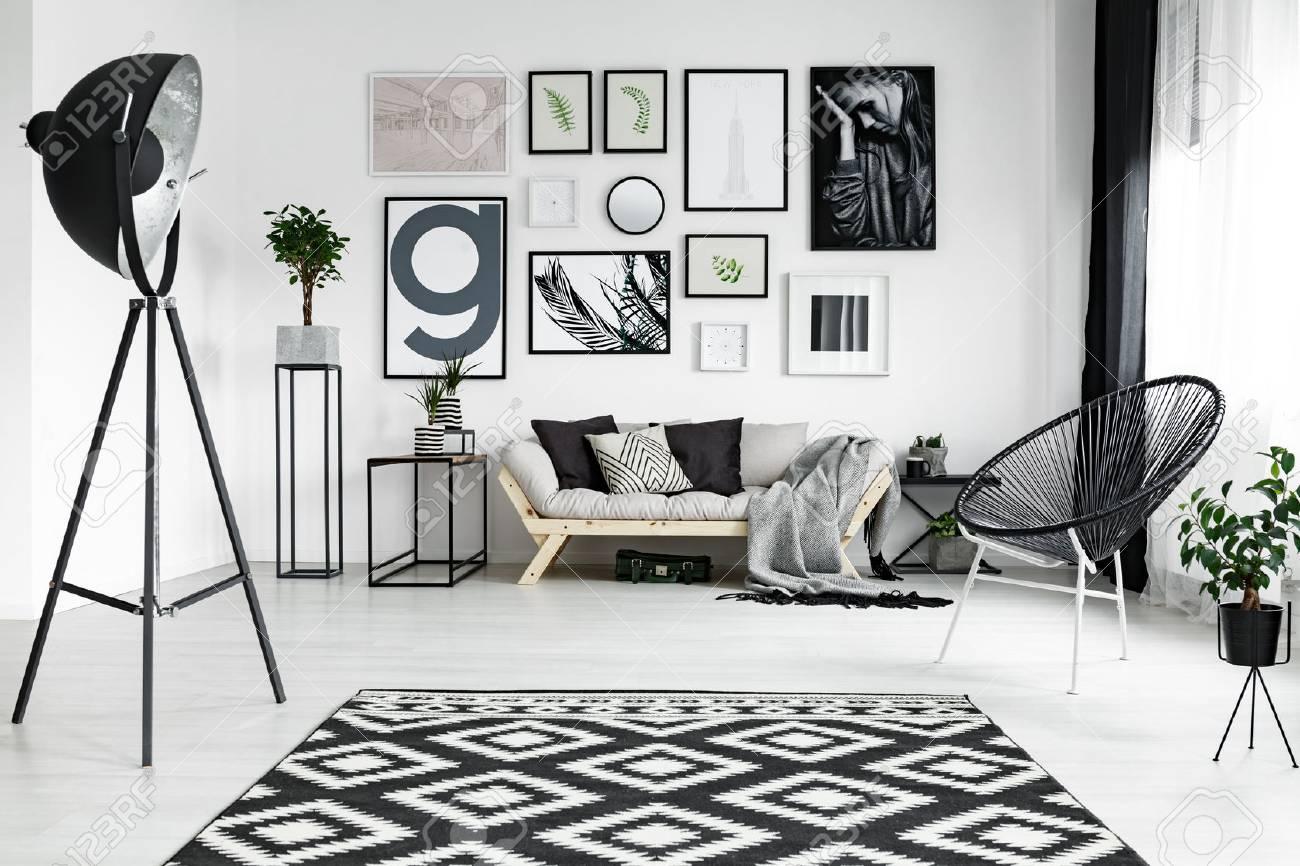 Standard Bild   Stylisches Weißes Wohnzimmer Mit Schwarzen Accessoires Und  Pflanzen