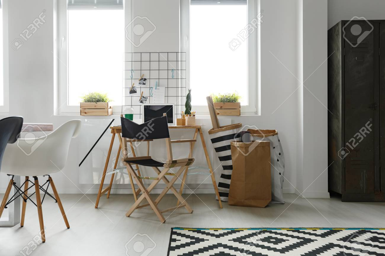 Astounding Simple Wooden Desk With Folding Chair In Scandinavian White Office Theyellowbook Wood Chair Design Ideas Theyellowbookinfo