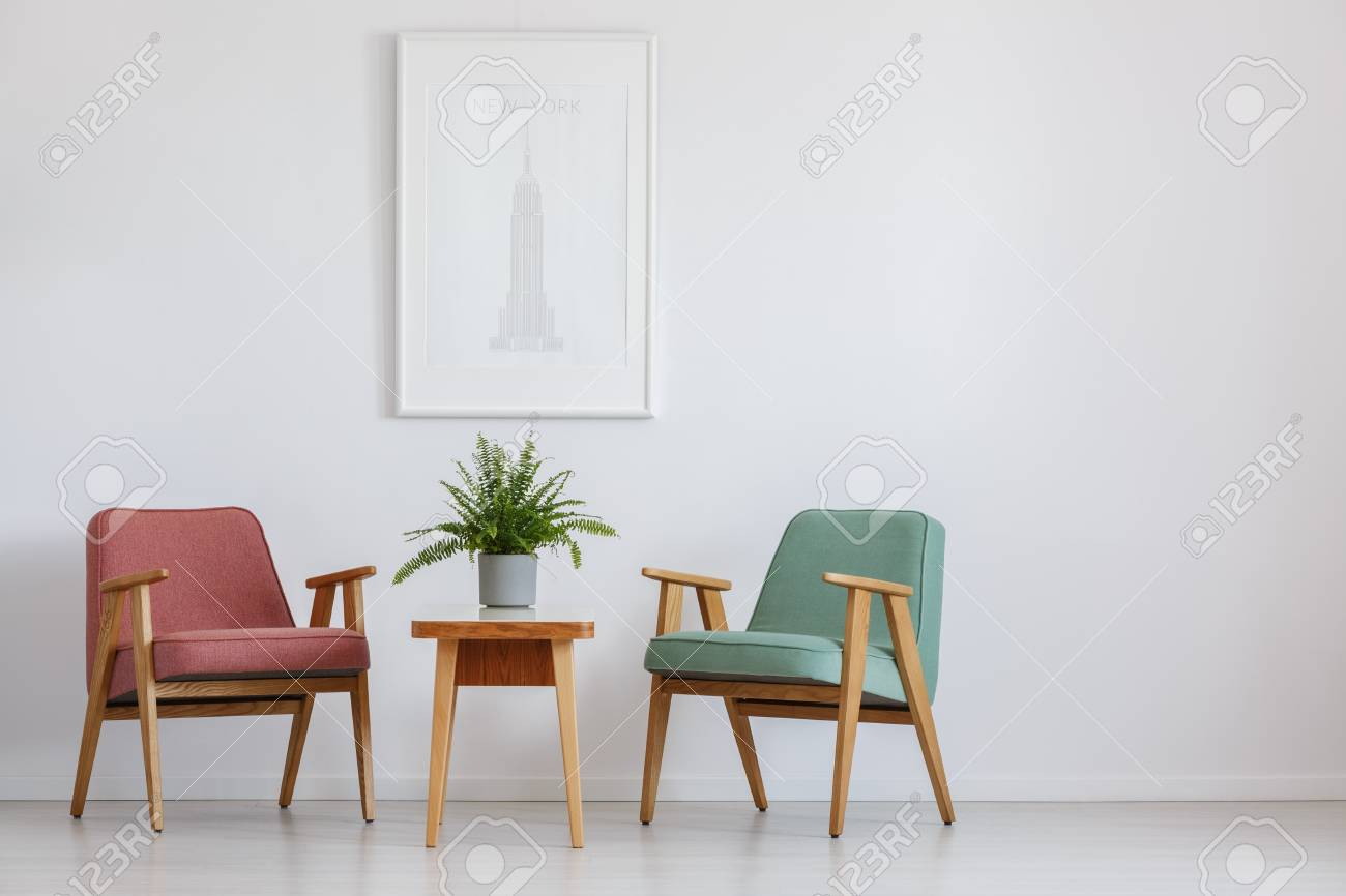 Attrayant Hotel Waiting Room With Two Armchairs And Poster Hanging Above Small Table  Stock Photo   83573649