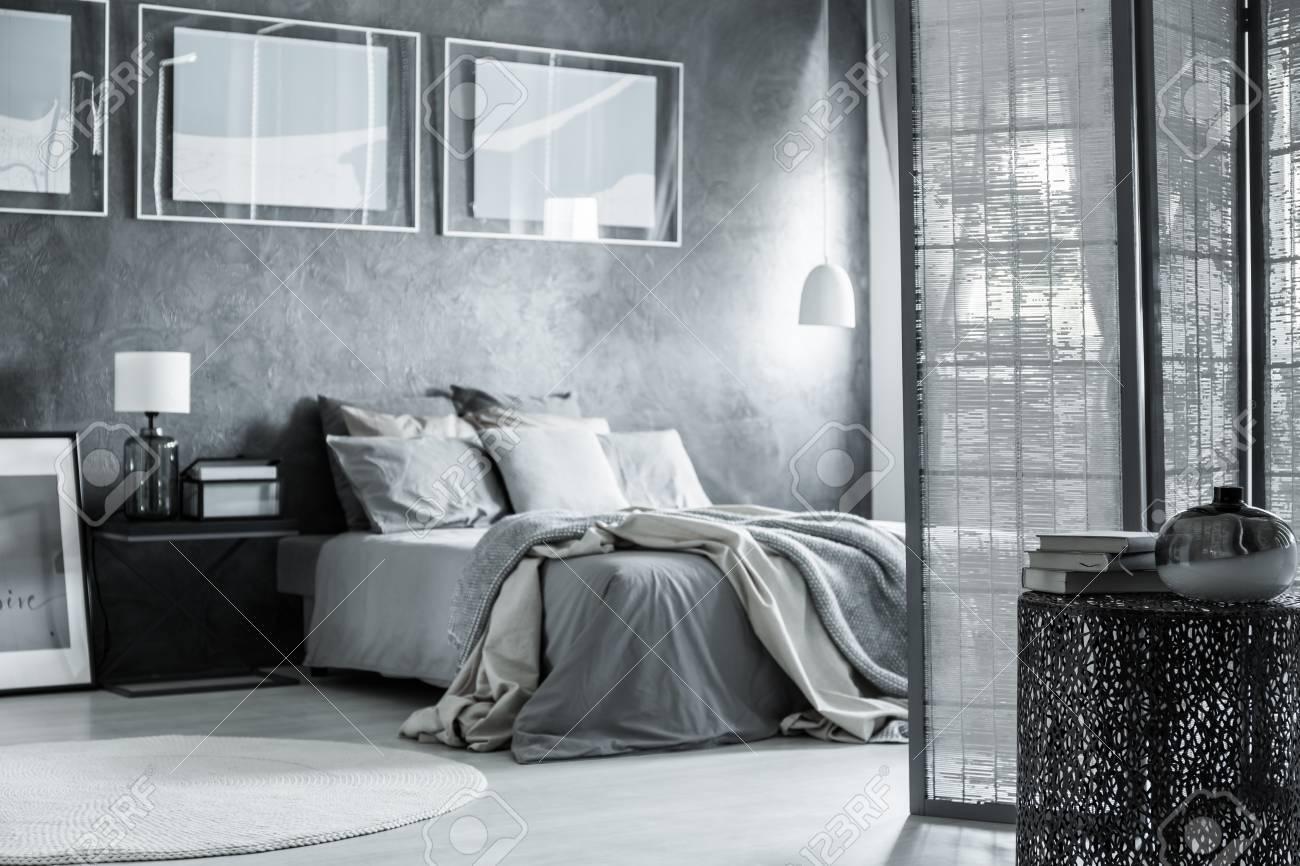 Skandinavisches apartment mit grauem schlafzimmer dekor raumteiler