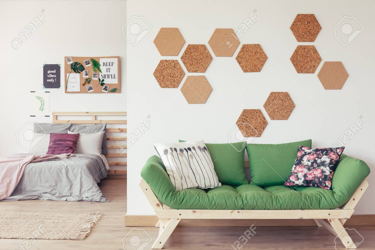 Modern Eco Bedroom With Decorative Floral Pillows Hexagon Cork