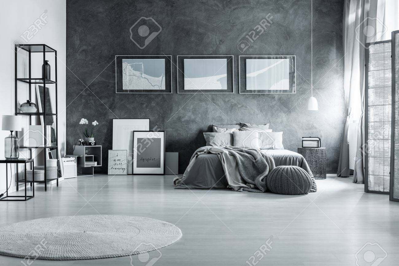 graues schlafzimmer